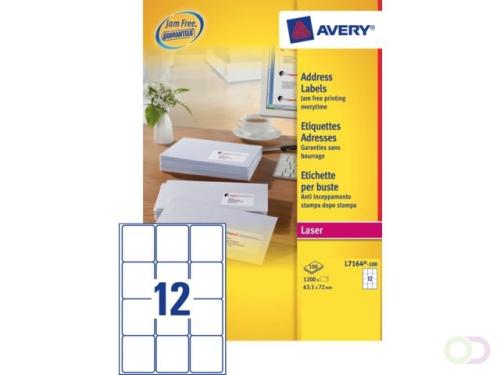 Etiket Avery L7164-100 63.5x72mm wit 1200stuks