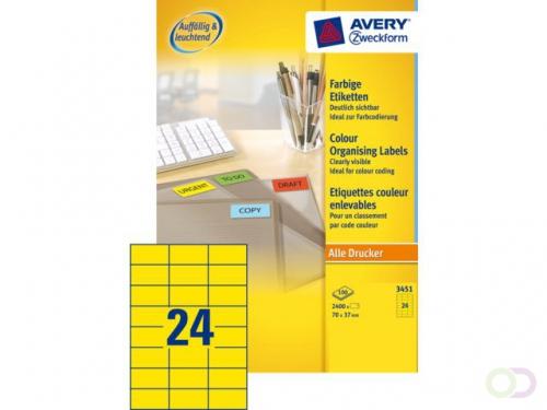 Etiket Avery Zweckform 3451 70x37mm geel 2400stuks