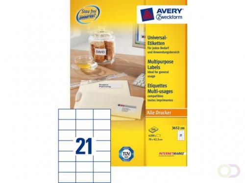 Etiket Avery Zweckform 3652 70x42.3Mm wit 4200stuks