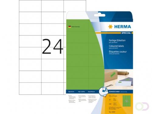 Etiket Herma 4469 70x37mm verwijderbaar groen 480stuks