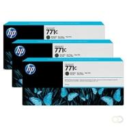 HP 771C originele ink cartridge matzwart standard capacity 3 x 775ml 3-pack