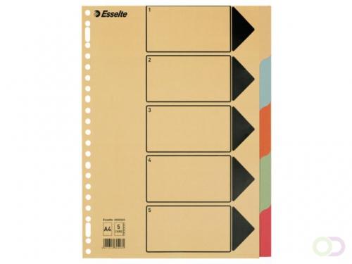 Tabbladen Esselte 23-gaats karton 5-delig chamois karton