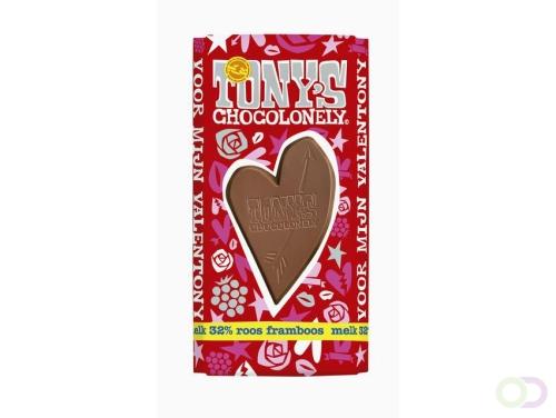 Tony's Chocolonely Valentony melk met roos framboos 180gr
